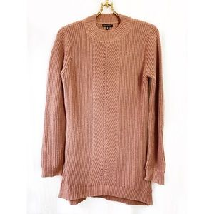 Dusty rose crew neck tunic sweater